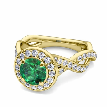 Infinity Diamond and Emerald Halo Engagement Ring in 18k Gold, 6mm