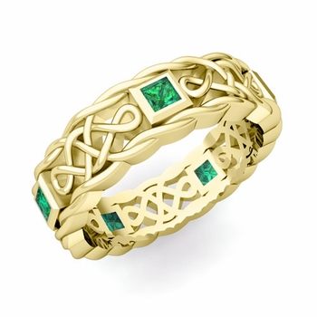 Princess Cut Emerald Ring in 18k Gold Celtic Knot Wedding Band, 5mm