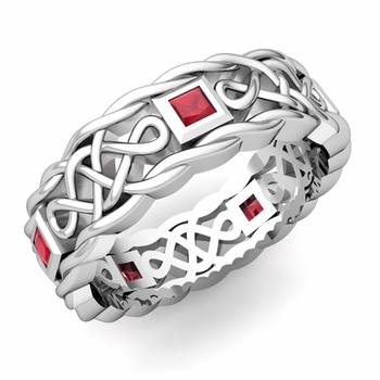 Princess Cut Ruby Ring in Platinum Celtic Knot Wedding Band, 7mm