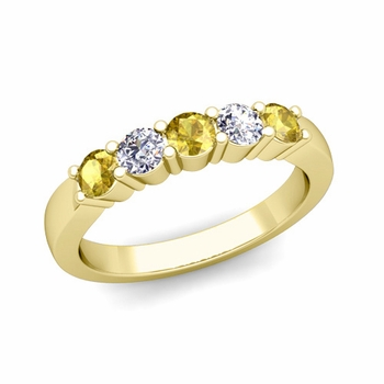 5 Stone Diamond and Yellow Sapphire Wedding Ring in 18k Gold