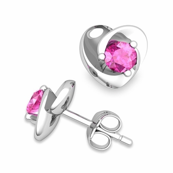 Petal Heart Pink Sapphire Stud Earrings in 14k Gold, 4x4mm