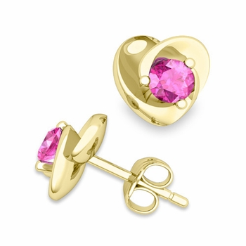 Petal Heart Pink Sapphire Stud Earrings in 18k Gold, 4x4mm