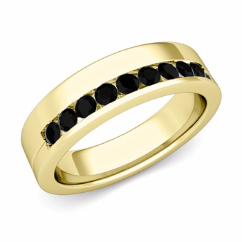 Channel Set Comfort Fit Black Diamond Wedding Ring in 18k Gold, 4mm