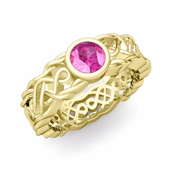 Solitaire Pink Sapphire Ring in 18k Gold Celtic Knot Wedding Band, 5.5mm