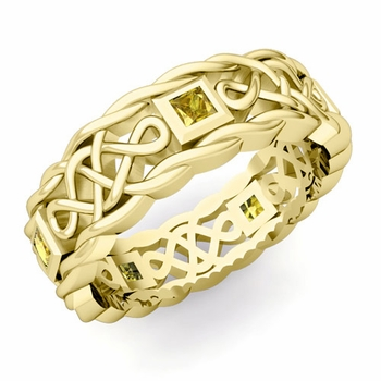 Princess Cut Yellow Sapphire Ring in 18k Gold Celtic Knot Wedding Band, 7mm