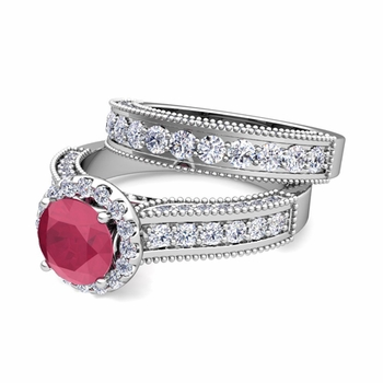 Bridal Set of Heirloom Diamond and Ruby Engagement Wedding Ring in Platinum, 5mm