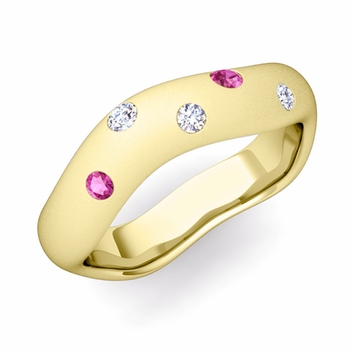 Curved Diamond and Pink Sapphire Wedding Ring in 18k Gold, Satin Finish, 5mm