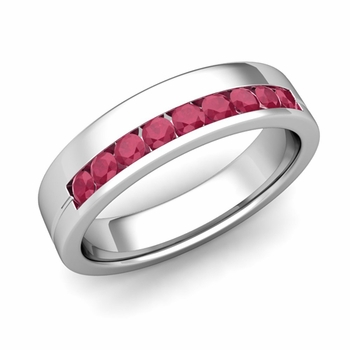 Channel Set Mens Comfort Fit Ruby Wedding Band in Platinum, 5mm