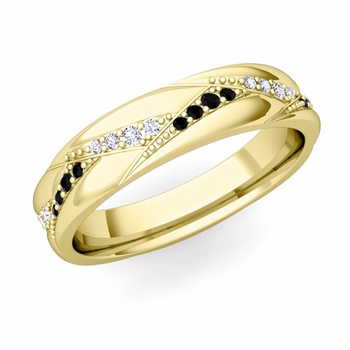 Wave Wedding Band in 18k Gold Black and White Diamond Ring, 5mm