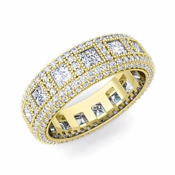 Pave Diamond and Princess Cut Diamond Eternity Band in 18k Gold, 6mm