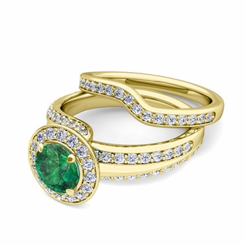 Wave Diamond and Emerald Engagement Ring Bridal Set in 18k Gold, 7mm