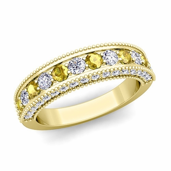 Vintage Inspired Yellow Sapphire and Diamond Wedding Ring Band in 18k Gold
