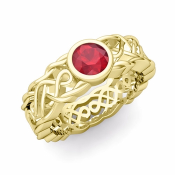Solitaire Ruby Ring in 18k Gold Celtic Knot Wedding Band, 5.5mm