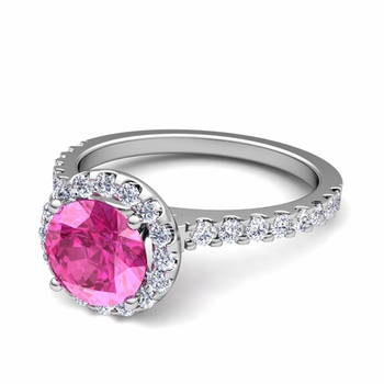 Petite Pave Set Diamond and Pink Sapphire Halo Engagement Ring in Platinum, 7mm