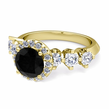 Crown Set Black and White Diamond Engagement Ring in 18k Gold, 7mm
