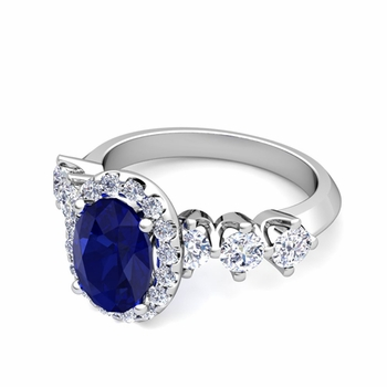 Crown Set Diamond and Sapphire Engagement Ring in Platinum, 9x7mm