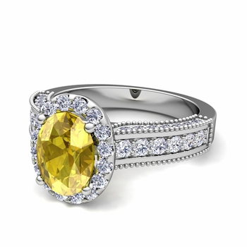 Heirloom Diamond and Yellow Sapphire Engagement Ring in 14k Gold, 7x5mm