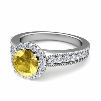 Milgrain Diamond and Yellow Sapphire Halo Engagement Ring in 14k Gold, 7mm