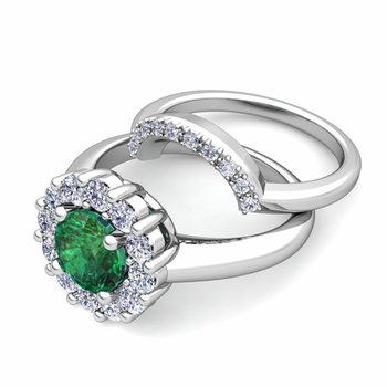 Emerald and Halo Diamond Engagement Ring Bridal Set in 14k Gold, 7mm