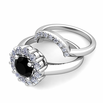 Black and White Diamond Halo Engagement Ring Bridal Set in 14k Gold, 7mm