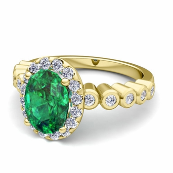 Bezel Set Diamond and Emerald Halo Engagement Ring in 18k Gold, 7x5mm