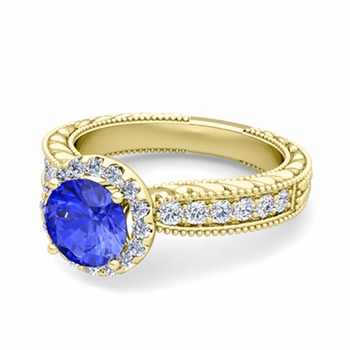 Vintage Inspired Diamond and Ceylon Sapphire Engagement Ring in 18k Gold, 7mm