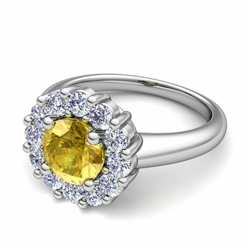 Yellow Sapphire and Halo Diamond Engagement Ring in Platinum, 7mm