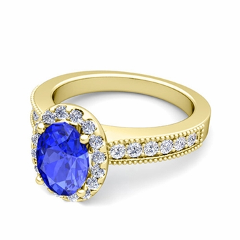 Milgrain Diamond and Ceylon Sapphire Halo Engagement Ring in 18k Gold, 7x5mm