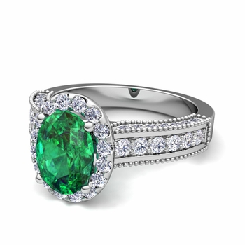 Heirloom Diamond and Emerald Engagement Ring in Platinum, 9x7mm