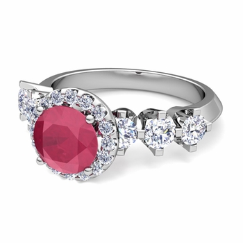 Crown Set Diamond and Ruby Engagement Ring in Platinum, 6mm
