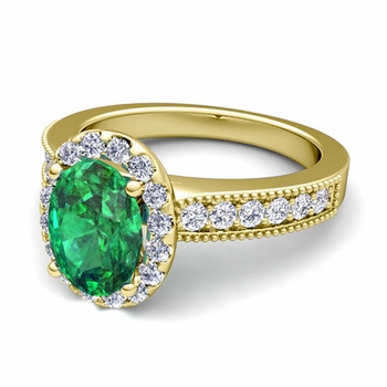 Milgrain Diamond and Emerald Halo Engagement Ring in 18k Gold, 9x7mm