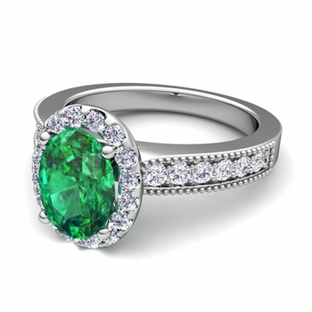 Milgrain Diamond and Emerald Halo Engagement Ring in Platinum, 7x5mm