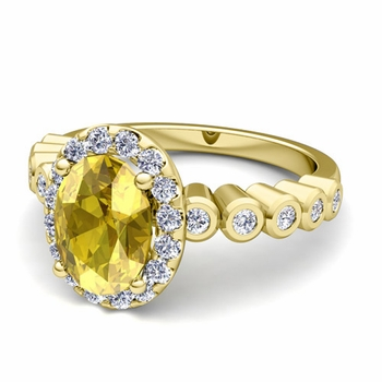 Bezel Set Diamond and Yellow Sapphire Halo Engagement Ring in 18k Gold, 7x5mm