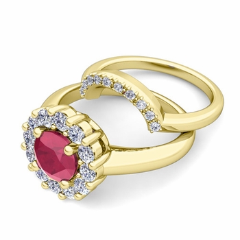 Ruby and Halo Diamond Engagement Ring Bridal Set in 18k Gold, 5mm