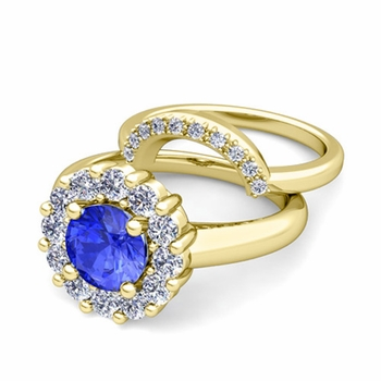 Ceylon Sapphire and Halo Diamond Engagement Ring Bridal Set in 18k Gold, 7mm