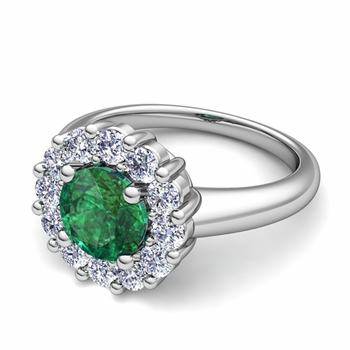 Emerald and Halo Diamond Engagement Ring in Platinum, 7mm