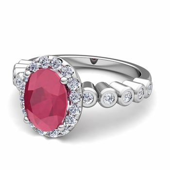 Bezel Set Diamond and Ruby Halo Engagement Ring in 14k Gold, 7x5mm