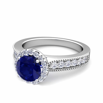 Milgrain Diamond and Sapphire Halo Engagement Ring in 14k Gold, 7mm
