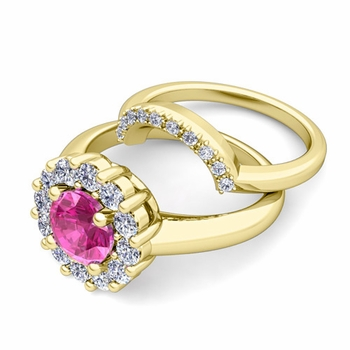 Pink Sapphire and Halo Diamond Engagement Ring Bridal Set in 18k Gold, 7mm