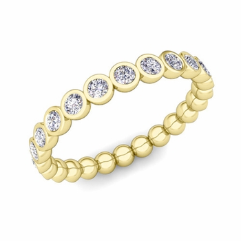 Bezel Set Diamond Wedding Eternity Band in 18k Gold, 0.72 cttw