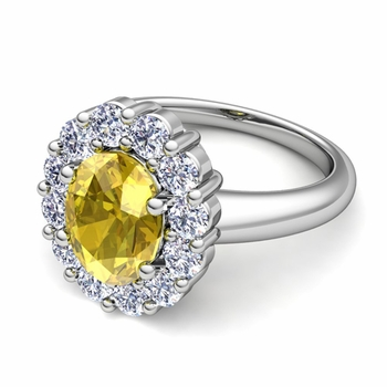 Halo Diamond and Yellow Sapphire Diana Ring in Platinum, 9x7mm