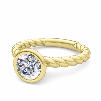 Bezel Set Solitaire Diamond Ring in 18k Gold Twisted Rope Band, 5mm