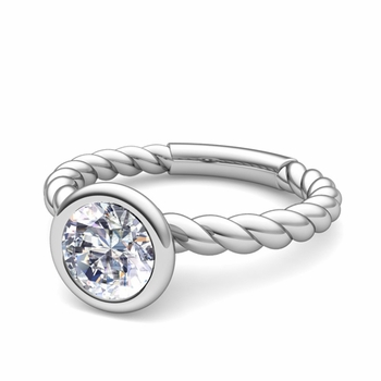 Bezel Set Solitaire Diamond Ring in Platinum Twisted Rope Band, 5mm