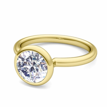 Bezel Set Solitaire Diamond Ring in 18k Gold, 5mm