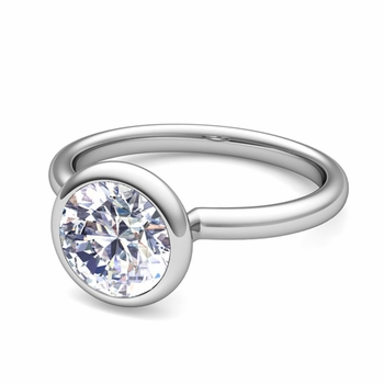 Bezel Set Solitaire Diamond Ring in Platinum, 5mm