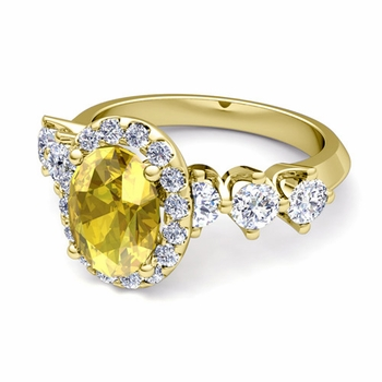 Crown Set Diamond and Yellow Sapphire Engagement Ring in 18k Gold, 7x5mm