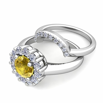 Yellow Sapphire and Halo Diamond Engagement Ring Bridal Set in Platinum, 7mm