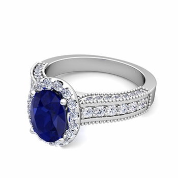 Heirloom Diamond and Sapphire Engagement Ring in Platinum, 9x7mm