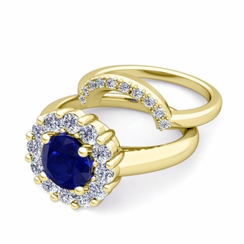 Blue Sapphire and Halo Diamond Engagement Ring Bridal Set in 18k Gold, 6mm