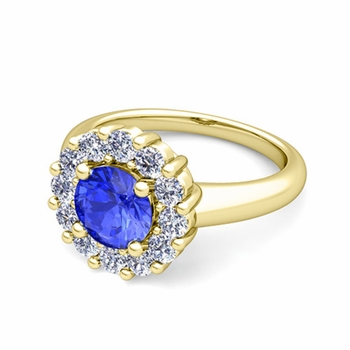 Ceylon Sapphire and Halo Diamond Engagement Ring in 18k Gold, 7mm